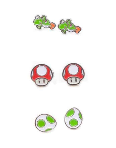 Nintendo - Set of 3 Pair Studd Earrings with Yoshi, Egg and Mushroom