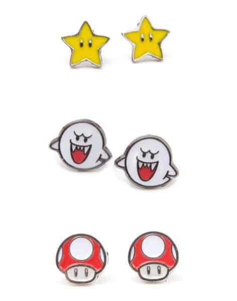 Nintendo - Set of 3 Pair Studd Earrings Boo, Superstar and Mushroom