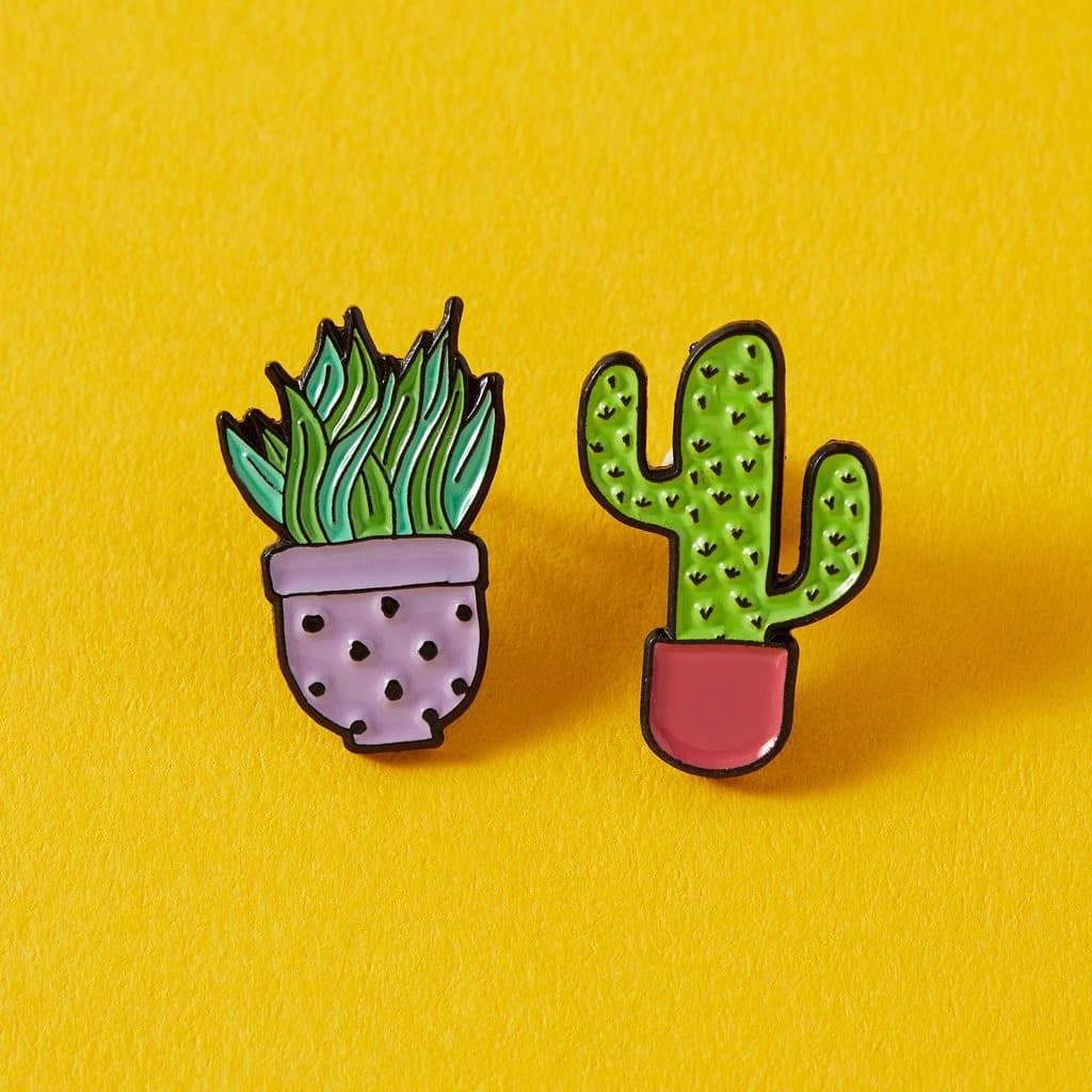 Lilac & Pink Cactus Duo Enamel Pin Set