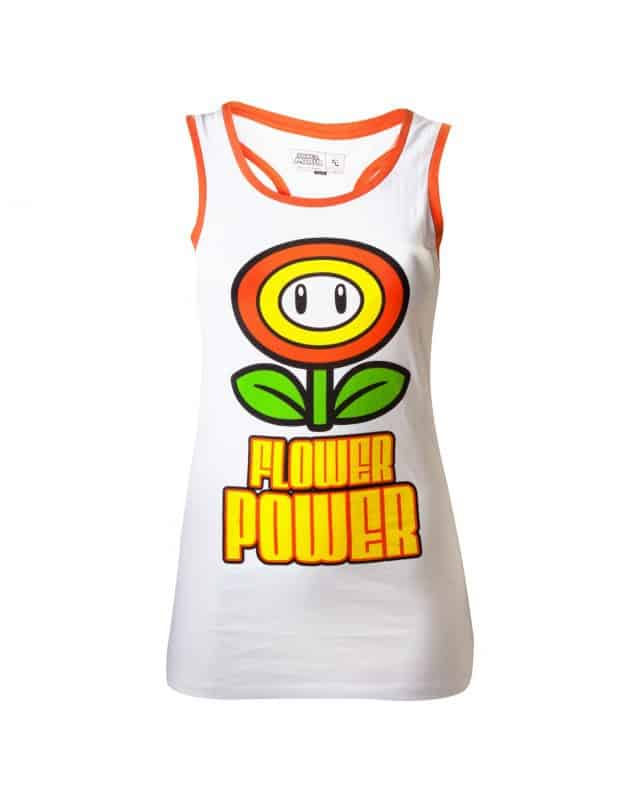 Nintendo - White. Flower Power Female Top
