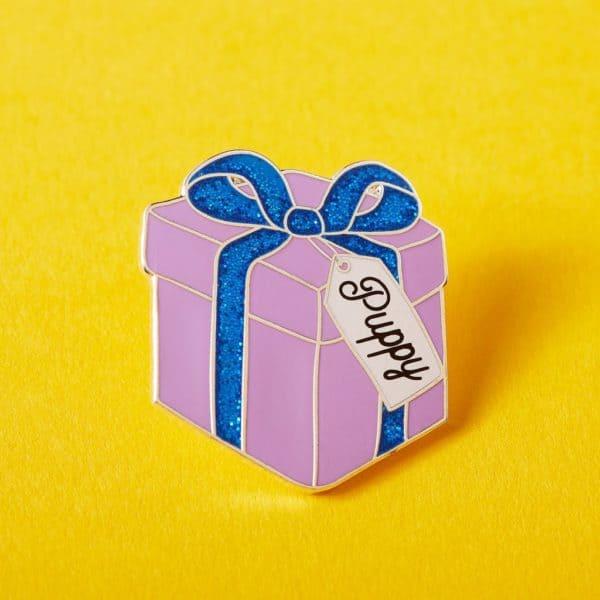 Puppy Gift Enamel Pin