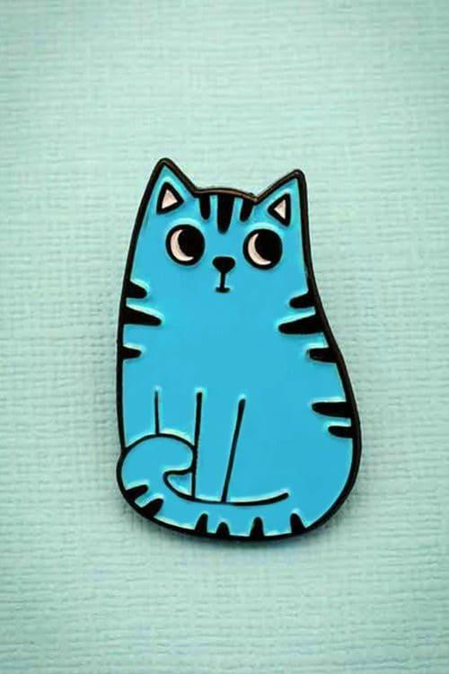 Punky Pins Blue Cat Pin
