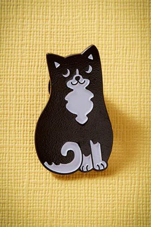Punky Pins Black & White Cat Pin