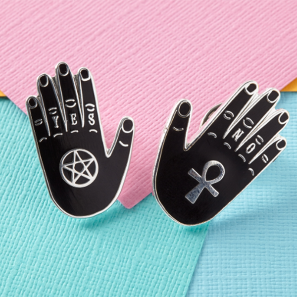 Yes & No Hand Enamel Pin set