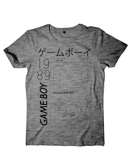 Nintendo - T-shirt Black White Grindle Gameboy