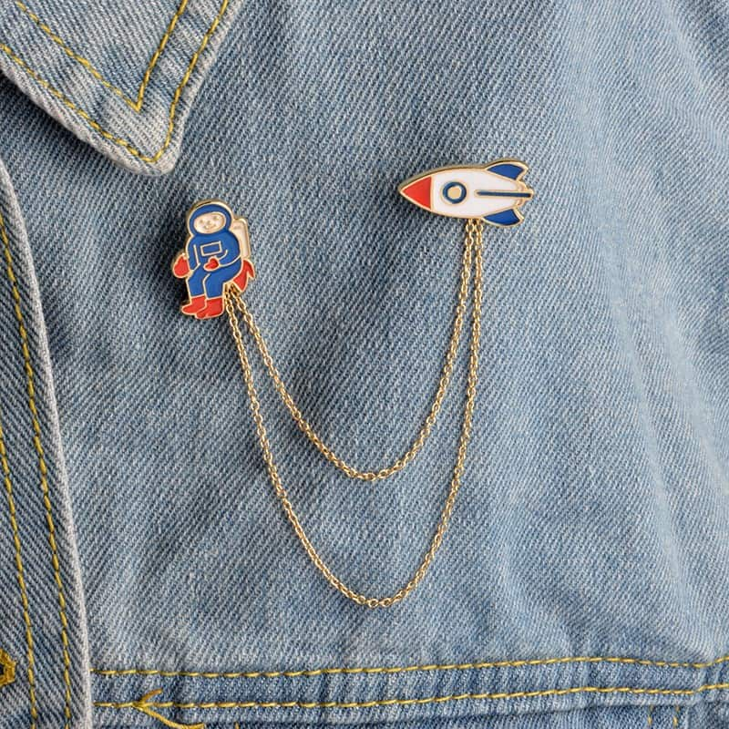 Astronaut / Spaceship double Pin