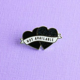 Punky Pins Not Available Heart Shaped Enamel Pin – All Black