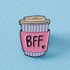 BFF Coffee Cup Enamel Pin – Pink