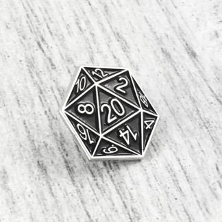 Dungeons & Dragons D20 Enamel Pin – Color Silver